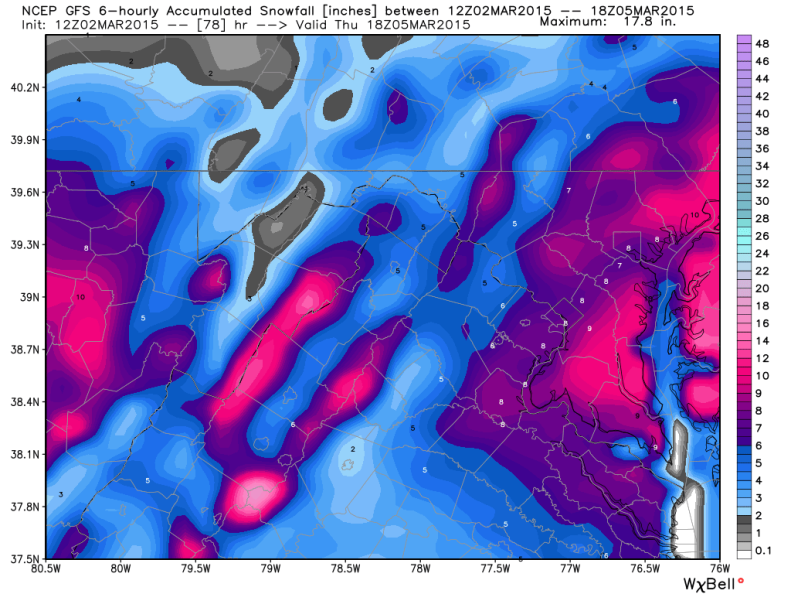 Latest GFS (Global Forecast System) Snowfall Forecast; Image courtesy Weatherbell