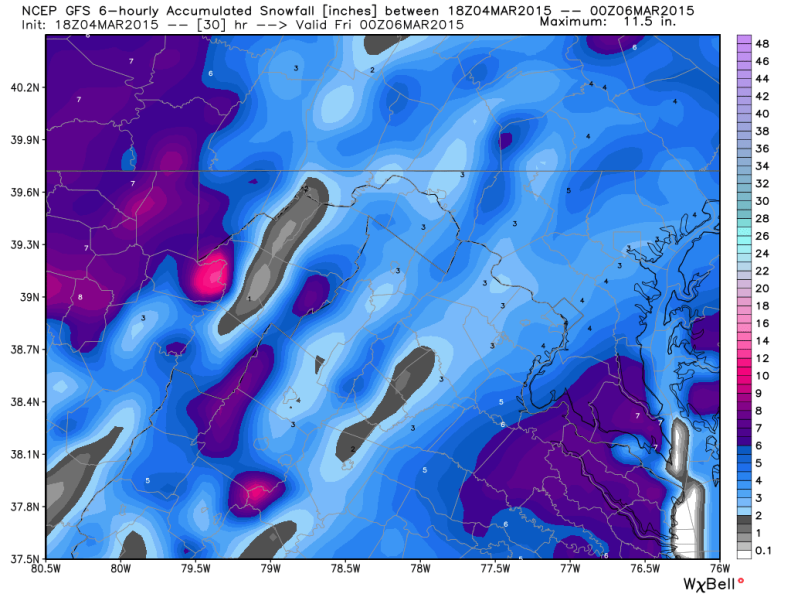 Latest Global Forecast System/GFS (American Model); Image courtesy, Weatherbell.