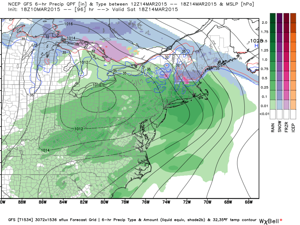 Latest GFS (Saturday); Image courtesy Weatherbell.