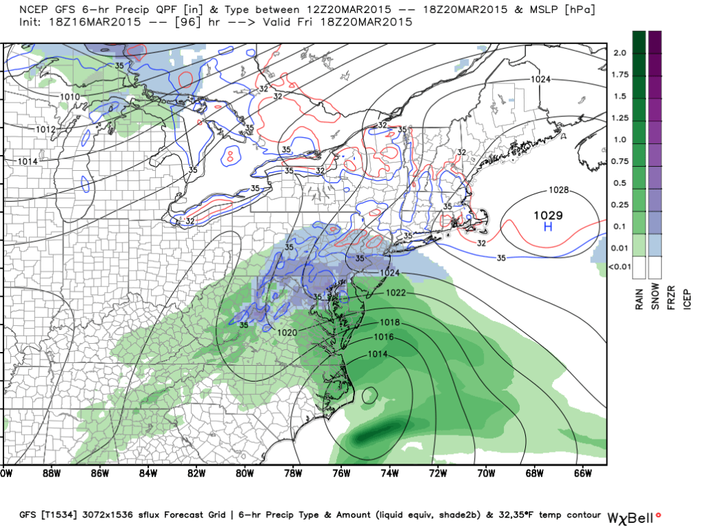 Latest GFS, 7 AM Friday; Image courtesy Weatherbell