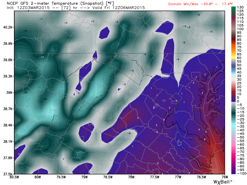 Temperatures Friday 7 AM (GFS); image courtesy Weatherbell.