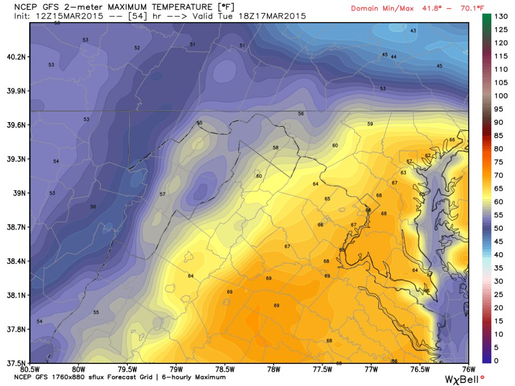 Latest Global Forecast Model (GFS) for High Temperatuers on Tuesday; Image courtesy Weatherbell.