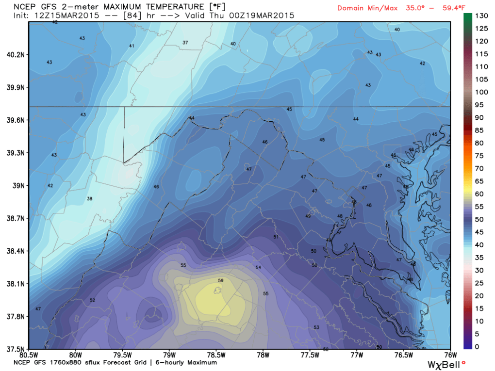 Latest Global Forecast Model (GFS) for High Temperatuers on Wednesday; Image courtesy Weatherbell.