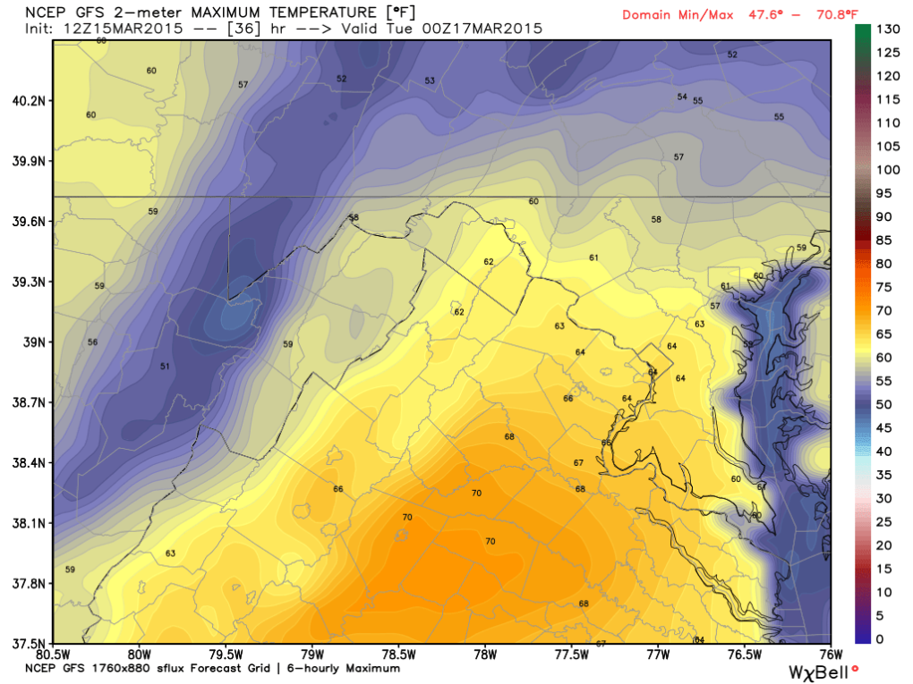 Latest Global Forecast Model (GFS) for High Temperatuers on Monday; Image courtesy Weatherbell.
