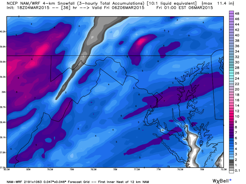 Latest North American Model (NAM); Image courtesy Weatherbell.