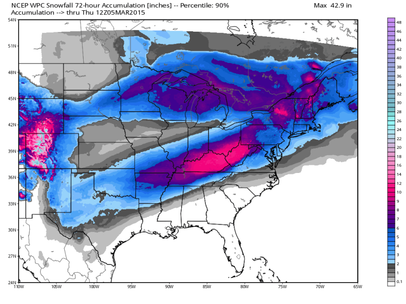 Weather Prediction Center (WPC) latest Snowfall Forecast (90th percentile); image courtesy Weatherbell