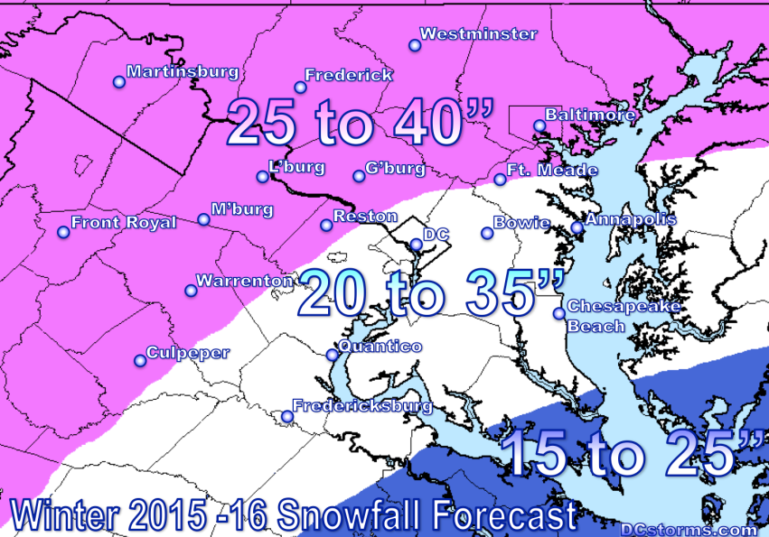 Tim's Washington DC Region 2015 – 2016 Snowfall Forecast (Click on image for larger view)