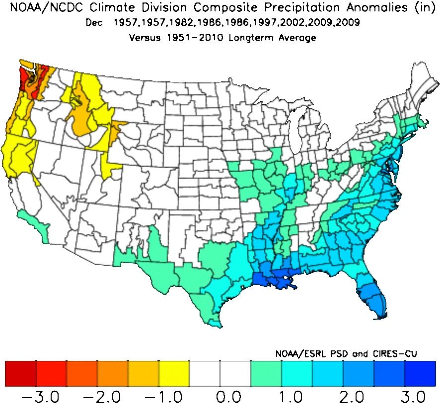 December precipitation anomalies (departure from average).