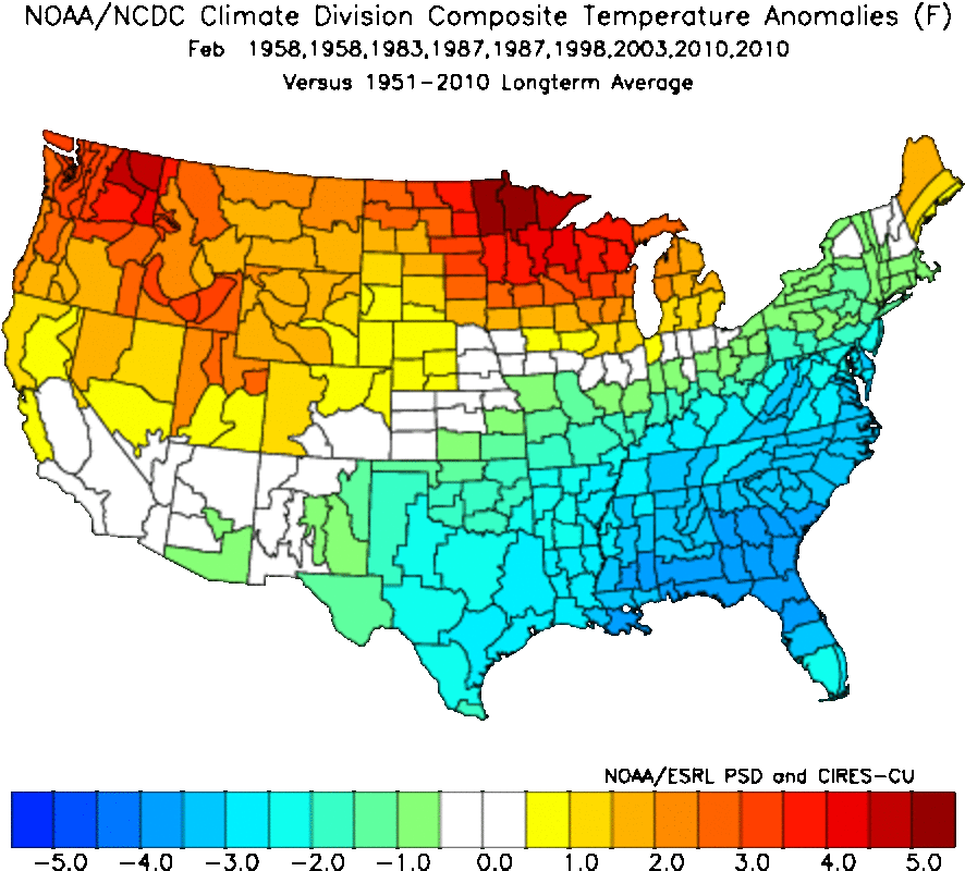 February temperature anomalies (departure from average).