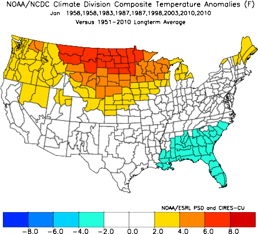 January temperature anomalies (departure from average).
