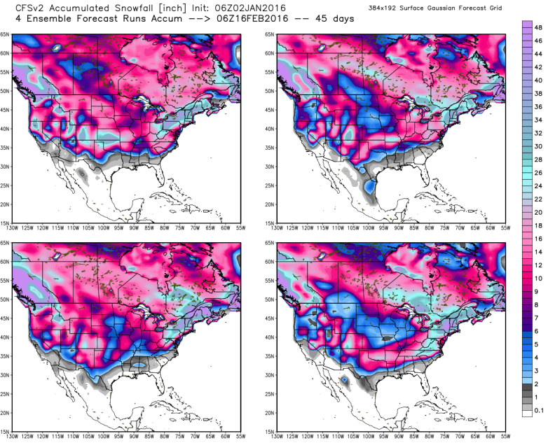 Climate Forecast System - Potential Snowfall through February 20th; image courtesy, Weatherbell.com