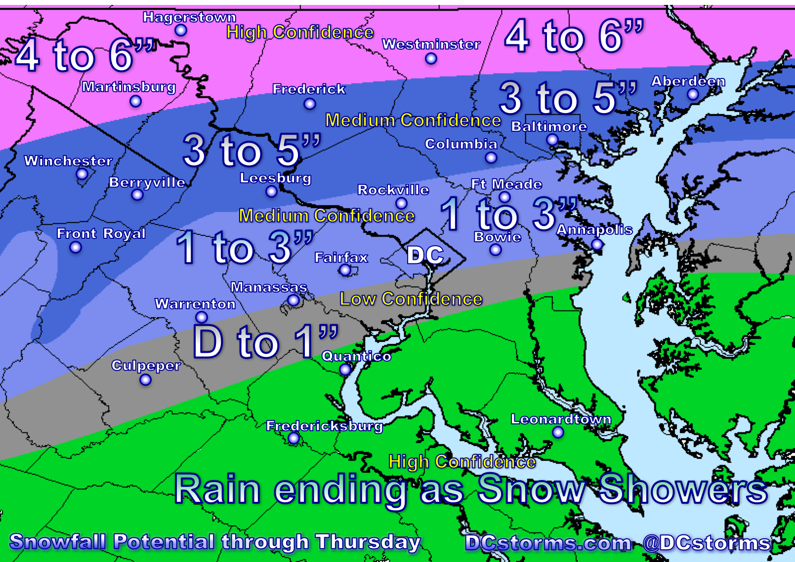 Snowfall Accumulation Map Preliminary Snowfall Accumulation Map Posted for Wednesday Night