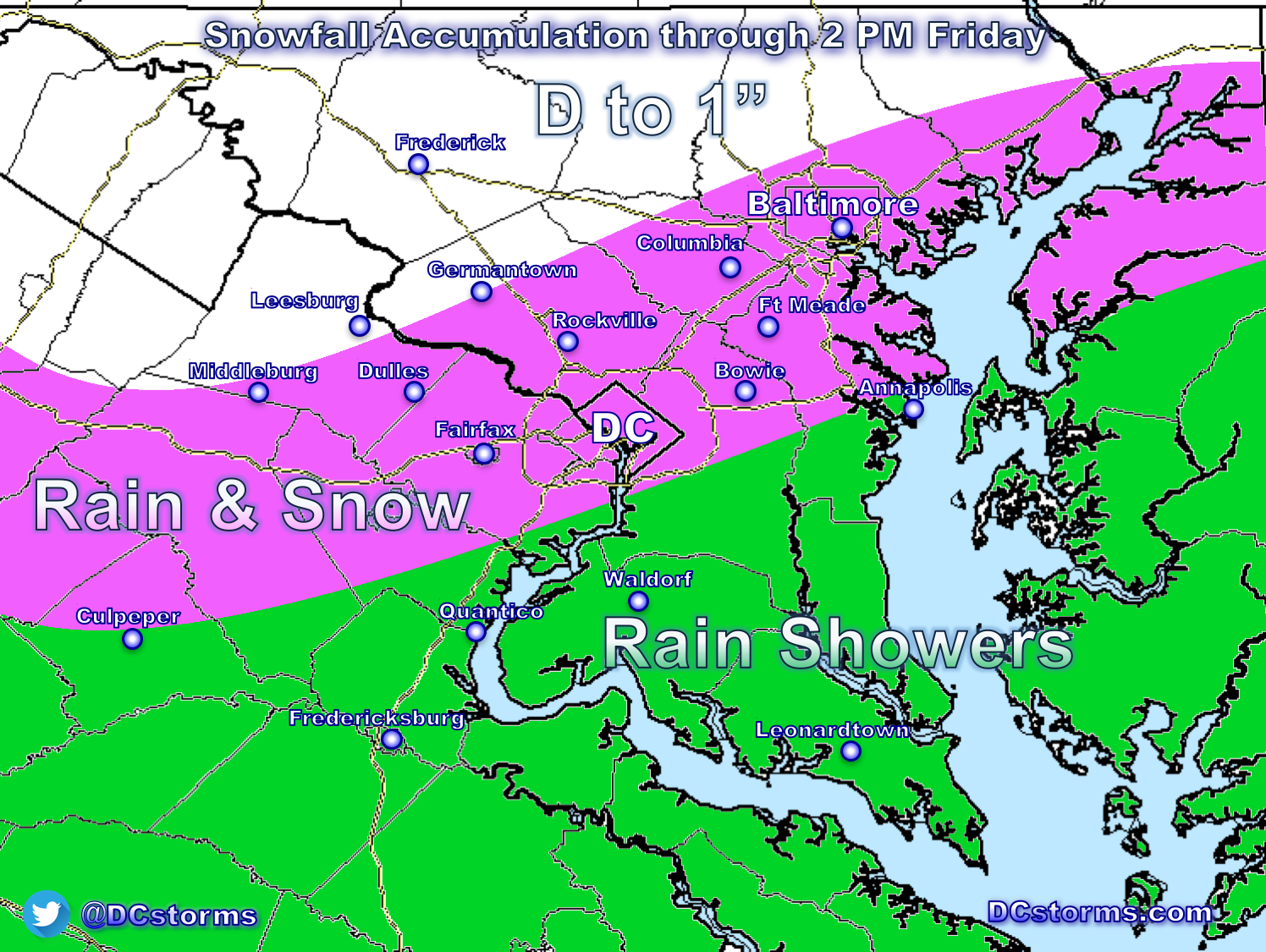 Snow Accumulation Map DC Area Snowfall Accumulation Map Posted for Friday March 10th  Snow Accumulation Map