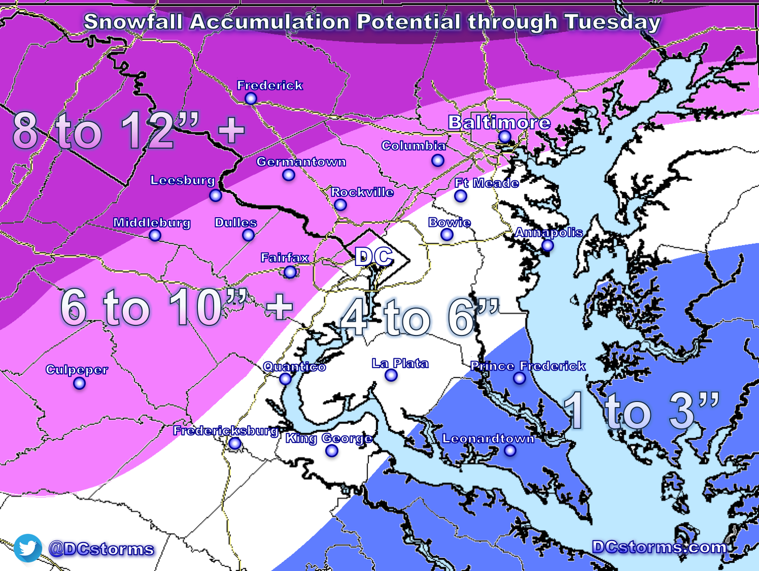 Preliminary DC Area Snowfall Aculation Forecast for March ... on